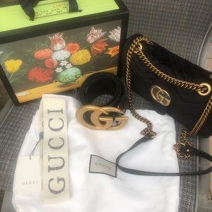 Gucci gg marmot velvet hand bag, belt and headband